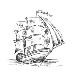 Old ship under full sails in ocean water vector image