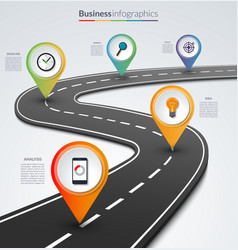 Road map infographic template with 5 pin pointers vector