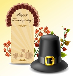 Thanksgiving card and hat with autumn plants vector image vector image