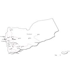 Yemen Black White Map vector image vector image