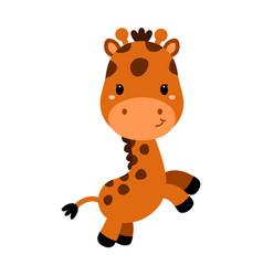 cute cartoon trendy design little giraffe african vector image