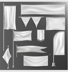 different realistik flag template white blank vector image vector image