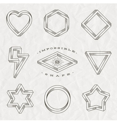 Set of line art tattoo style impossible shapes vector image vector image