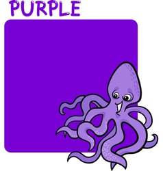 Color Purple and Octopus Cartoon vector image vector image