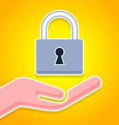 Hand with padlock icon vector image
