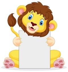 Lion cartoon holding blank sign vector