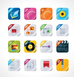 square file labels icon set vector image vector image