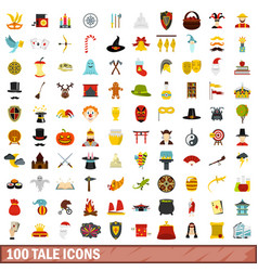 100 tale icons set flat style vector