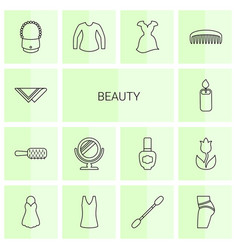 14 beauty icons vector