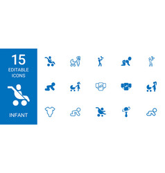 15 infant icons vector image