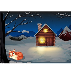 A wolf lying under the tree outside the house vector