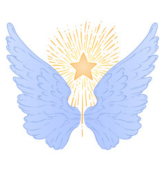 angels wings with a star ornamental baroque style vector image