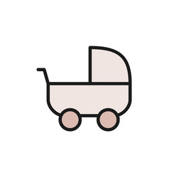 baby strollers carriage flat color icon vector image