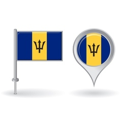 Barbados pin icon and map pointer flag vector