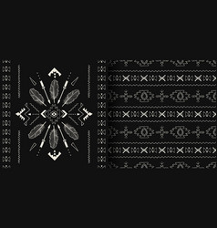 black and white handmade aztec boho seamless vector image