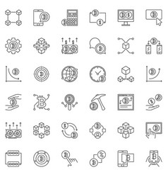 Blockchain and cryptocurrency outline icons vector