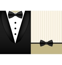 Bow tie tuxedo invitation design template vector