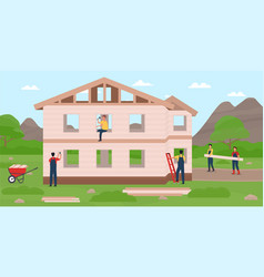 builders constructing modern private house vector image