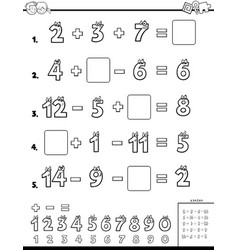 calculation educational worksheet for children vector image
