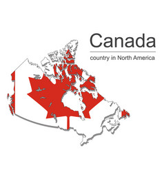canada map and flag on black background vector image