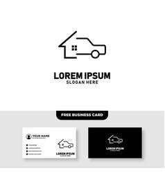 Car repair garage logo and business card template vector