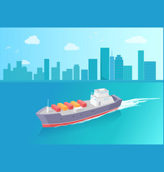 Cargo ship leaves trace in sea marine vessel icon vector