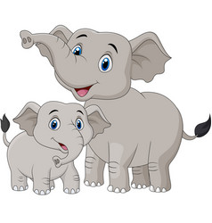 cartoon mother and baelephant vector image