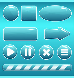 Cartoon water buttons and loading bar for gui vector