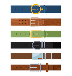 Clothing belt set of various colored belts vector