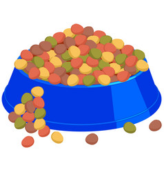 Colorful cartoon pet overfilled food bowl vector