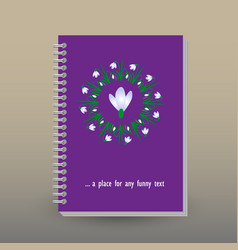Cover of diary or notebook snowdrop mandala vector