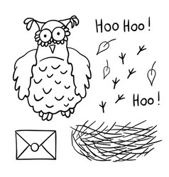 cute cartoon wise owl with mail nest footprints vector image