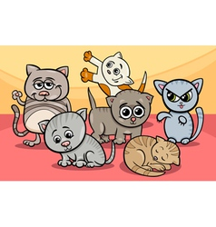 cute kittens group cartoon vector image