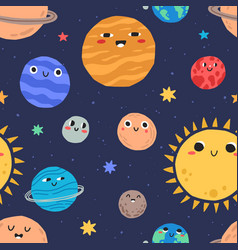 Cute smiling planets in outer space seamless vector