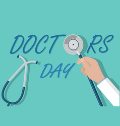 Doctor day concept doctor hand holding vector