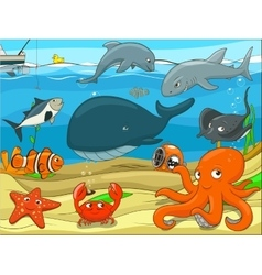 Educational game for children underwater life vector image