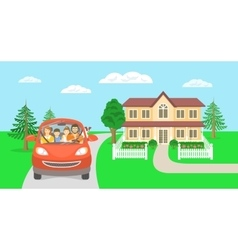 Family summer vacation trip background with house vector image