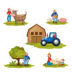 Farming flat set vector