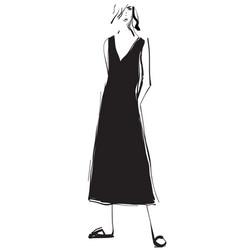 fashion models sketch cartoon girl dress vector image