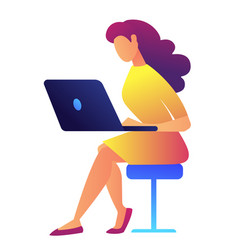 female it specialist working on laptop vector image