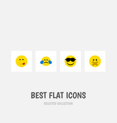 Flat icon emoji set of cold sweat happy hush and vector
