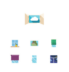 flat icon glass set of curtain glazing clean and vector image