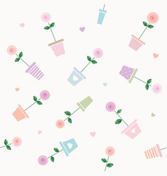 floral seamless pattern background with roses in vector image