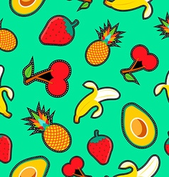 Fruit seamless background with cartoon designs vector image