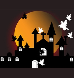 halloween with haunted house vector image