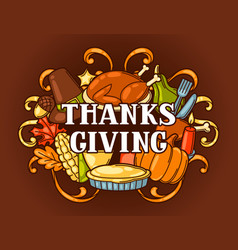 happy thanksgiving day invitation with holiday vector image