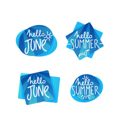 hello summer and june doodle handdrawn vector image