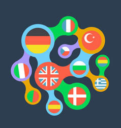 Interrelated flags countries flat icon vector