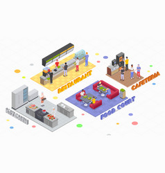 Isometric food court compositions vector