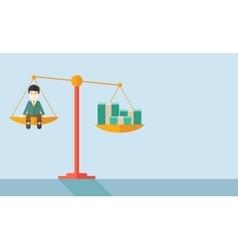 Japanese Businessman on a balance scale vector image